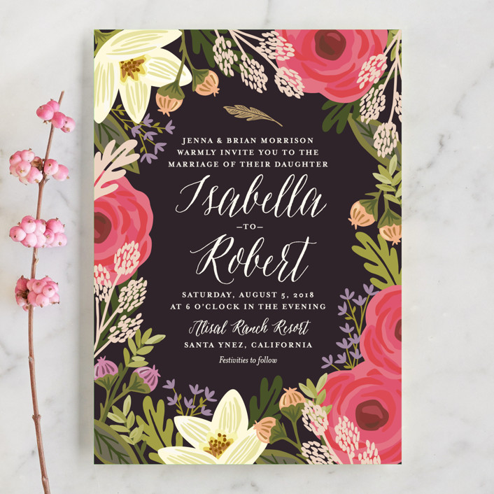 """""""Rhapsody"""" - Wedding Invitation Petite Cards in Peony by Griffinbell Paper Co.."""