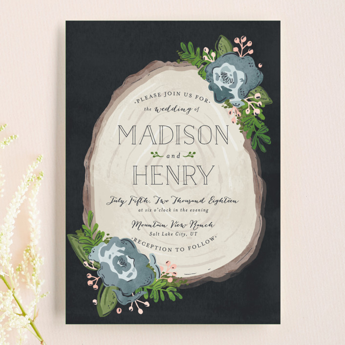 """""""Rustic Wooded Romance"""" - Rustic Wedding Invitation Petite Cards in Bluebell by Pistols."""