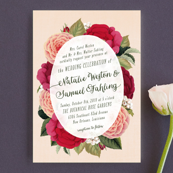 """Vintage Botanicals"" - Wedding Invitation Petite Cards in Soft Peach by Hooray Creative."