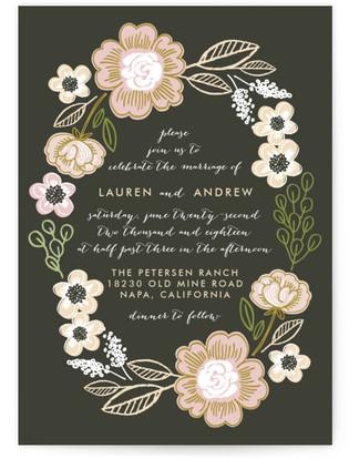 photo of Botanical Wreath Wedding Invitation Petite Cards