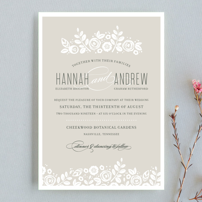 """White Shadows"" - Wedding Invitation Petite Cards in Champagne by Jessica Williams."