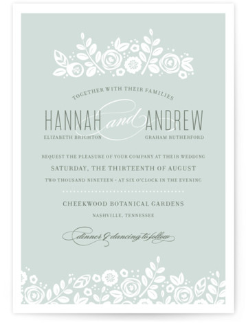 This is a landscape, portrait botanical, classical, elegant, floral, hand drawn, vintage, green Wedding Invitations by Jessica Williams called White Shadows with Standard printing on Signature in Petite Flat Card format. Created for you by Minted's global community of designers ...