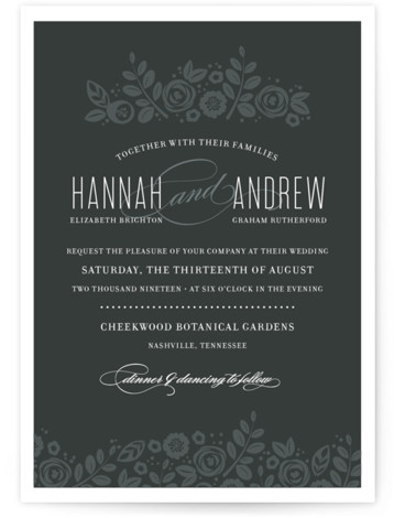 This is a landscape, portrait botanical, classical, elegant, floral, hand drawn, vintage, grey Wedding Invitations by Jessica Williams called White Shadows with Standard printing on Signature in Petite Flat Card format. Created for you by Minted's global community of designers ...