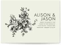This is a brown petite wedding invitation by Phrosne Ras called Elegance Illustrated with standard printing on signature in petite.