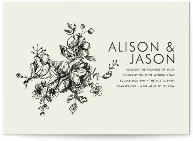 This is a landscape, portrait botanical, classical, elegant, floral, formal, hand drawn, metallic, rustic, simple, brown Wedding Invitations by Phrosne Ras called Elegance Illustrated with Standard printing on Signature in Petite Flat Card format. Created for you by Minted's global ...