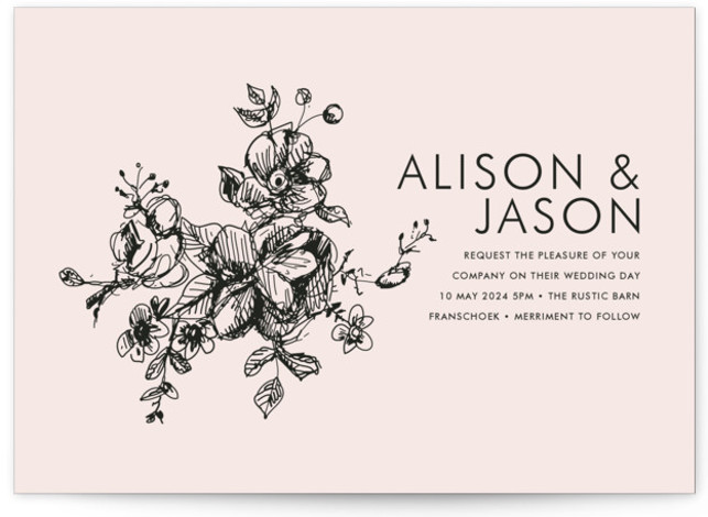 This is a landscape, portrait botanical, classical, elegant, floral, formal, hand drawn, metallic, rustic, simple, pink Wedding Invitations by Phrosne Ras called Elegance Illustrated with Standard printing on Signature in Petite Flat Card format. Created for you by Minted's global ...