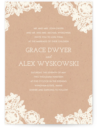 photo of Lace And Kraft Wedding Invitation Petite Cards