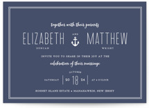 This is a blue petite wedding invitation by Sandra Picco Design called Down by the Sea with standard printing on signature in petite.