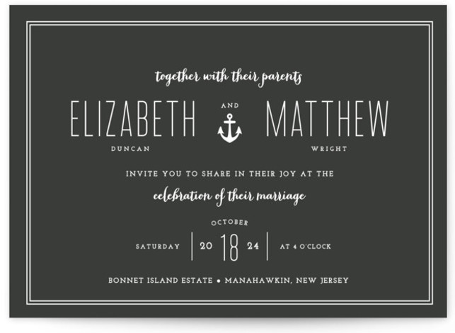 This is a landscape preppy, black, black and white Wedding Invitations by Sandra Picco Design called Down by the Sea with Standard printing on Signature in Petite Flat Card format. Created for you by Minted's global community of designers our ...