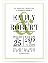 This is a green petite wedding invitation by Ariel Rutland called Wed in Type with standard printing on signature in petite.