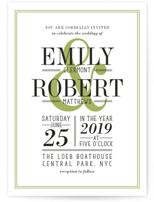 Wed in Type Wedding Invitation Petite Cards