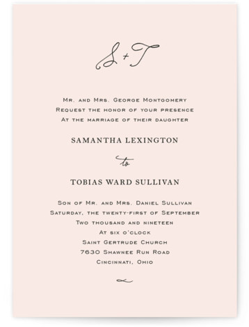 This is a portrait preppy, simple and minimalist, pink Wedding Invitations by Kim Dietrich Elam called Estate with Standard printing on Signature in Petite Flat Card format. Created for you by Minted's global community of designers our invitation designs will ...