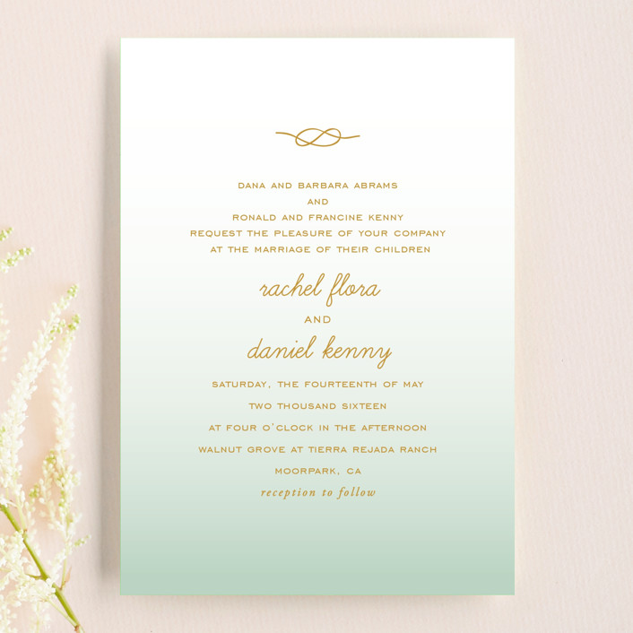 """""""Simple Knot"""" - Wedding Invitation Petite Cards in Mint by SimpleTe Design."""