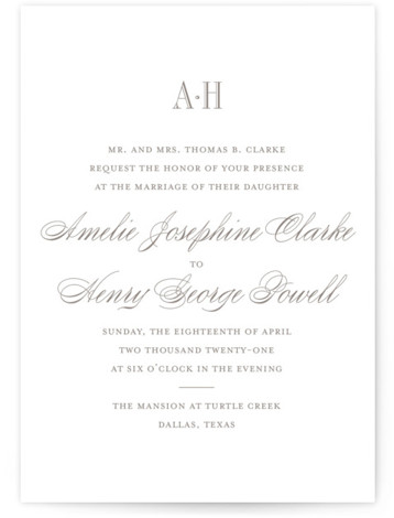 This is a portrait classic formal, classical, elegant, formal, traditional, brown Wedding Invitations by Toast & Laurel called Hepburn with Standard printing on Signature in Petite Flat Card format. A timeless & elegant save the date to set the tone ...