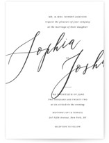 This is a black and white petite wedding invitation by Griffinbell Paper Co. called Crescendo with standard printing on signature in petite.