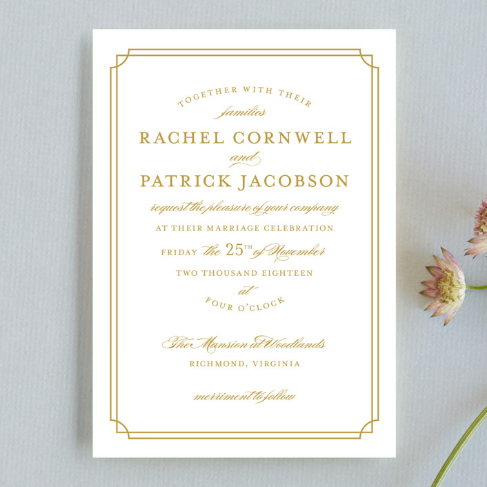 """""""Luxe Border"""" - Wedding Invitation Petite Cards in Gold by Sarah Brown."""