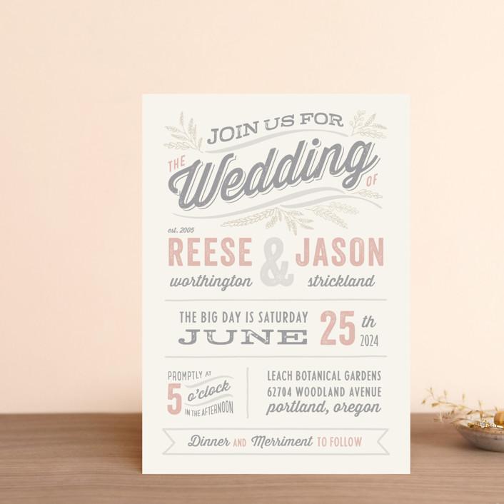 """Rustic Charm"" - Rustic Wedding Invitation Petite Cards in Petal by Hooray Creative."