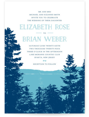 This is a portrait illustrative, painterly, rustic, blue Wedding Invitations by Ariel Rutland called Mountain View with Standard printing on Signature in Petite Flat Card format. Created for you by Minted's global community of designers our invitation designs will set ...