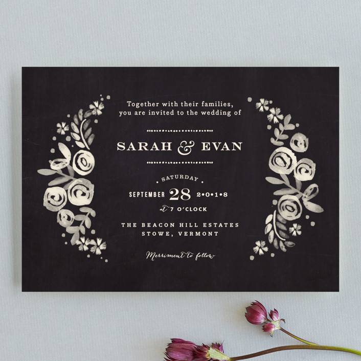 """Sun Bleached Florals"" - Rustic Wedding Invitation Petite Cards in Blackboard by Jennifer Wick."