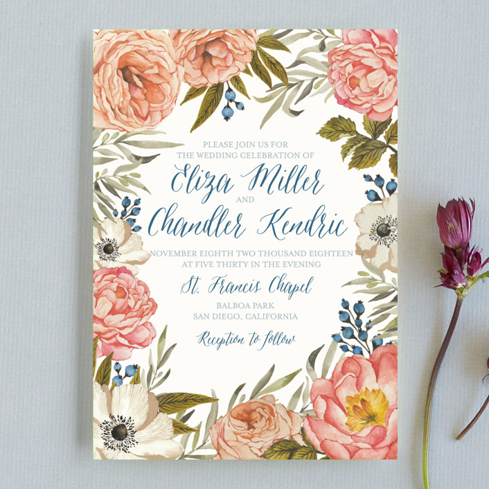 """Garden Rose"" - Wedding Invitation Petite Cards in Garden Rose by Wildfield Paper Co.."