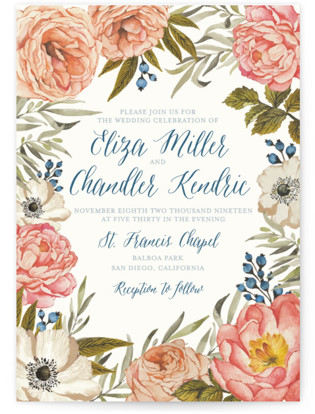 Garden Rose Wedding Invitation Petite Cards