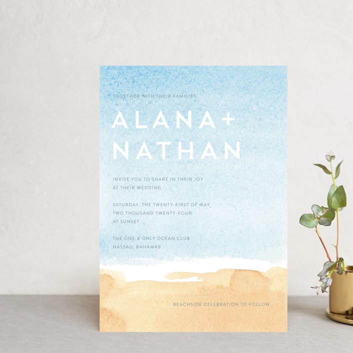 """Painted Sea"" - Wedding Invitation Petite Cards in Sea by Laura Condouris."