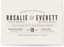 This is a brown petite wedding invitation by Pistols called Classic Type with standard printing on signature in petite.