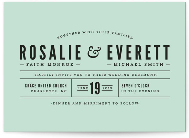 This is a landscape bold and typographic, bold typographic, classic and formal, modern, simple, simple and minimalist, green Wedding Invitations by Melissa Egan of Pistols called Classic Type with Standard printing on Signature in Petite Flat Card format. Classic typography ...