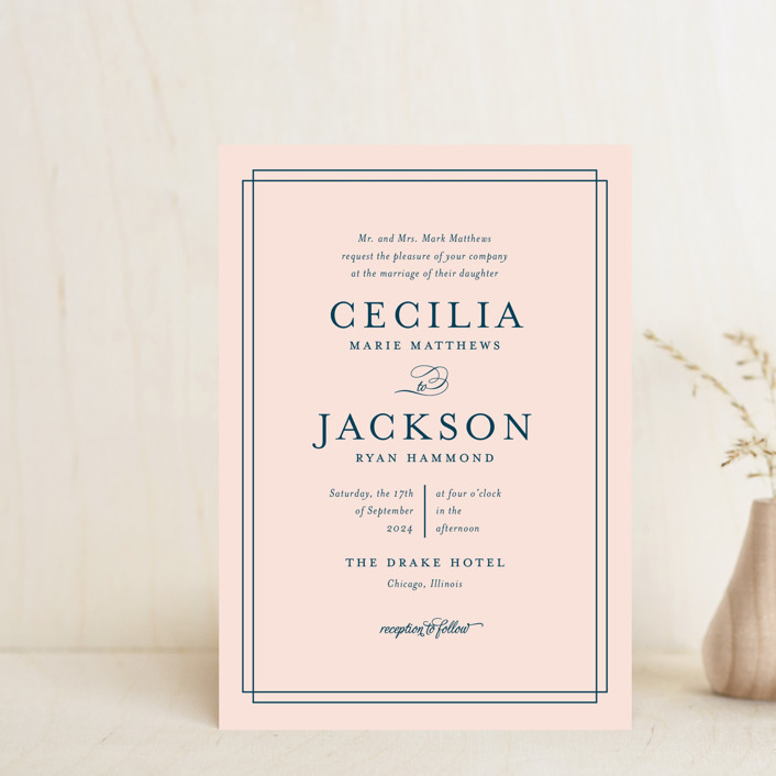 """Chic Gala"" - Preppy Wedding Invitation Petite Cards in Cotton Candy by Kimberly FitzSimons."