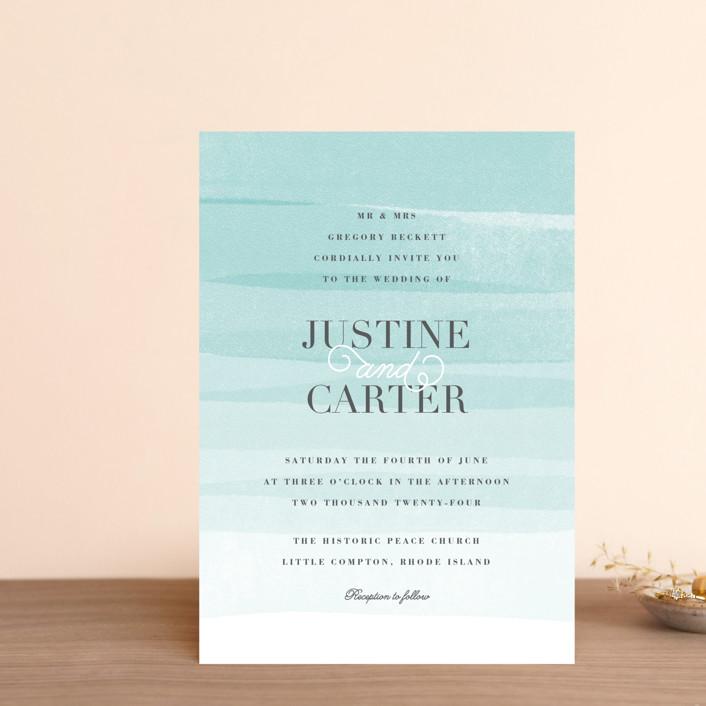 """Old Post Road"" - Wedding Invitation Petite Cards in Sea Salt by Jennifer Wick."