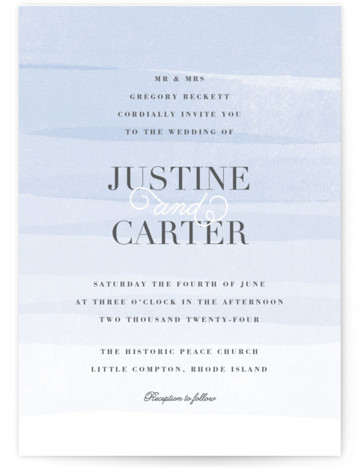 This is a portrait beach, classical, elegant, painterly, blue Wedding Invitations by Jennifer Wick called Old Post Road with Standard printing on Signature in Petite Flat Card format. Ombre painted stripes evoke the feeling of the ocean tide.