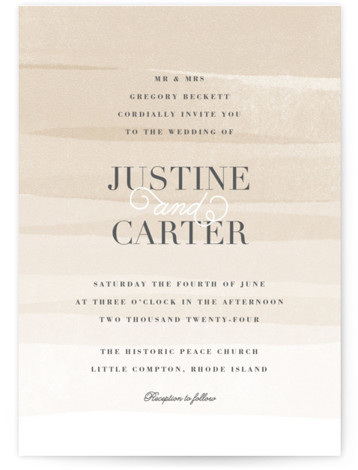 This is a portrait beach, classical, elegant, painterly, brown Wedding Invitations by Jennifer Wick called Old Post Road with Standard printing on Signature in Petite Flat Card format. Ombre painted stripes evoke the feeling of the ocean tide.