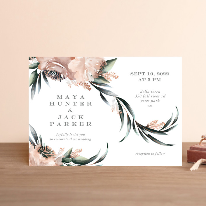 """Maya Rustica"" - Wedding Invitation Petite Cards in Rose by Petra Kern."