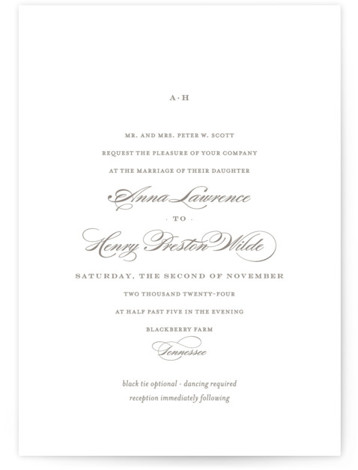 This is a landscape, portrait classic and formal, classical, elegant, floral, simple, simple and minimalist, traditional, brown Wedding Invitations by Toast & Laurel called Field with Standard printing on Signature in Petite Flat Card format. Created for you by Minted's ...