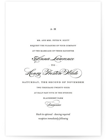This is a landscape, portrait classic and formal, classical, elegant, floral, simple, simple and minimalist, traditional, black and white Wedding Invitations by Toast & Laurel called Field with Standard printing on Signature in Petite Flat Card format.