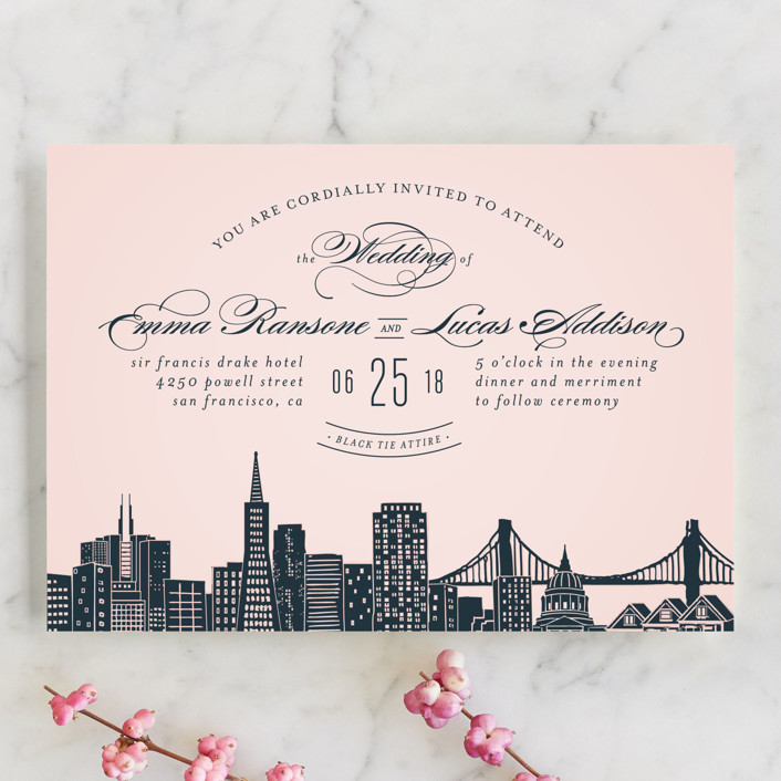 """Big City - San Francisco"" - Wedding Invitation Petite Cards in Blush by Hooray Creative."