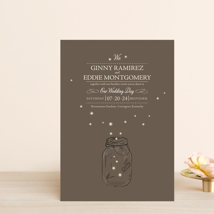 """Fireflies"" - Whimsical & Funny, Rustic Wedding Invitation Petite Cards in Zuni Brown by Paige Rothhaar."