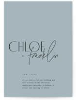 This is a blue petite wedding invitation by Kelly Schmidt called Layered with standard printing on signature in petite.