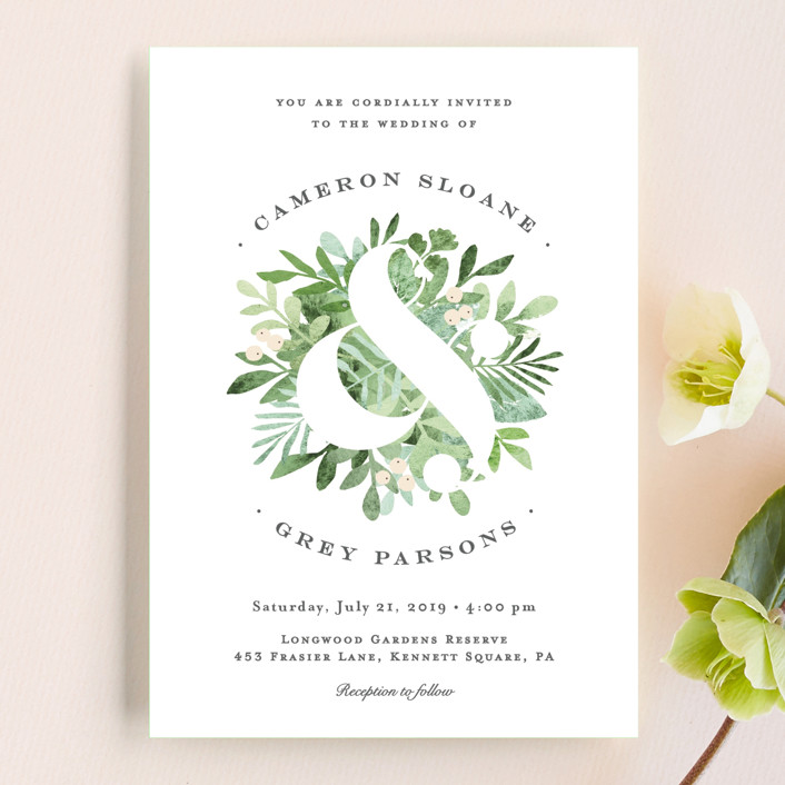 """Leafy ampersand"" - Wedding Invitation Petite Cards in Mint Leaf by Jennifer Wick."