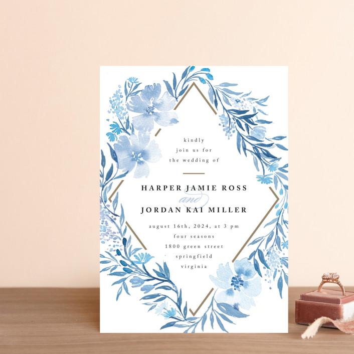 """Poetic Blue"" - Wedding Invitation Petite Cards in Sky by Qing Ji."