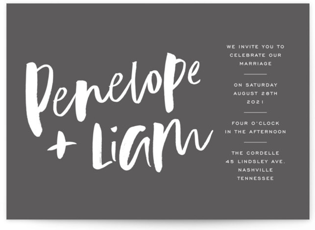 This is a landscape bold and typographic, simple and minimalist, grey Wedding Invitations by Design Lotus called Love Actually with Standard printing on Signature in Petite Flat Card format. Modern brush calligraphy type with fresh layout for the modern couple ...