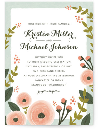 English Floral Garden Wedding Invitation Petite Cards