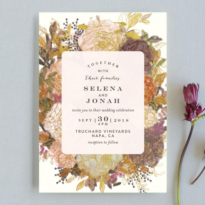 """Floral Feast"" - Wedding Invitation Petite Cards in Gold Leaf by Phrosne Ras."