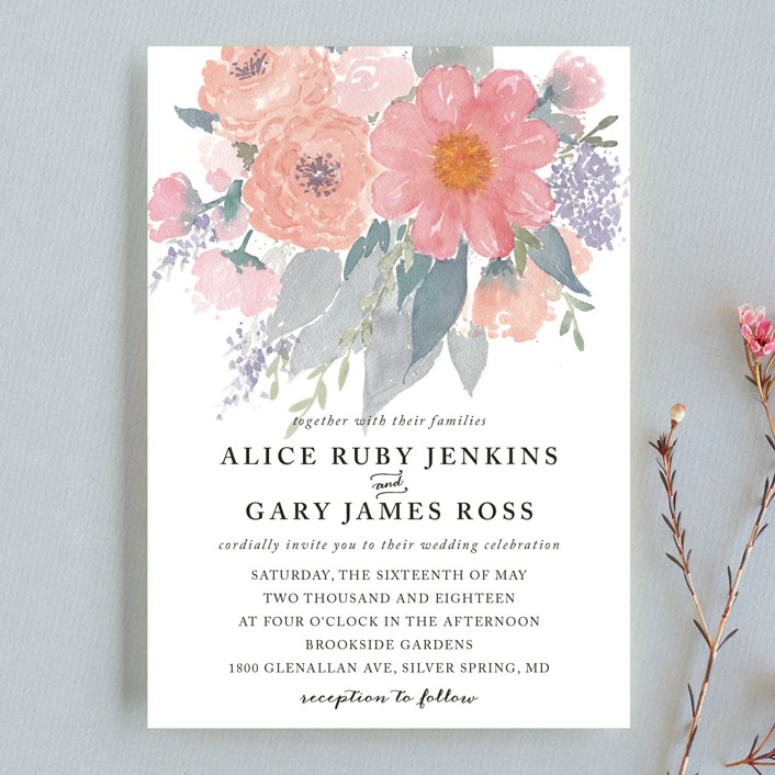 """fresh watercolor floral"" - Wedding Invitation Petite Cards in Peach by Qing Ji."