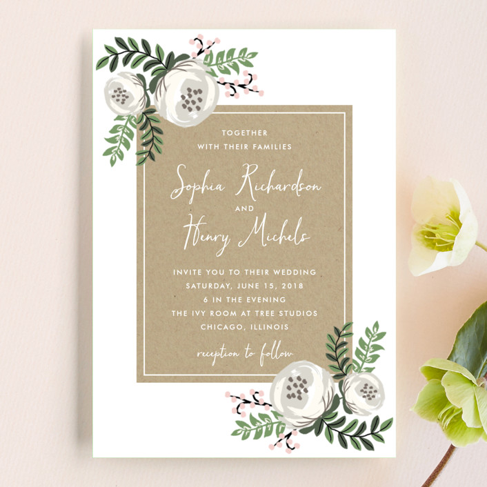 """Krafted Florals"" - Wedding Invitation Petite Cards in Blush by Lehan Veenker."