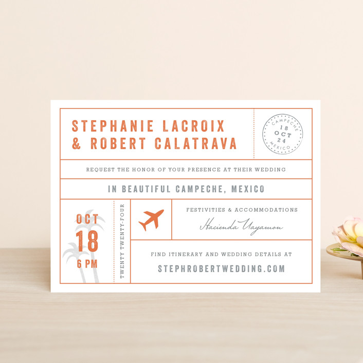 """Passport"" - Wedding Invitation Petite Cards in Coral by Sarah Curry."