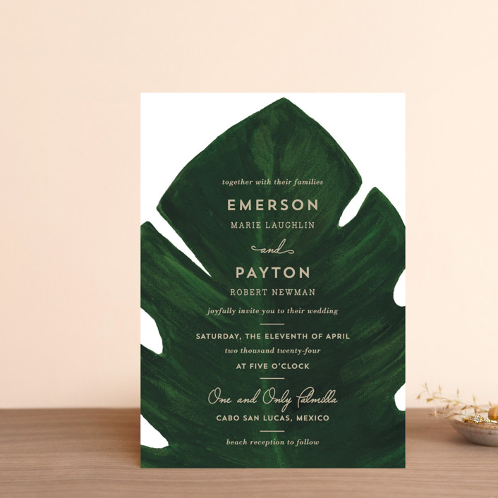 """Palm"" - Wedding Invitation Petite Cards in Classic Palm by Kaydi Bishop."