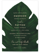 This is a green petite wedding invitation by Kaydi Bishop called Palm with standard printing on signature in petite.