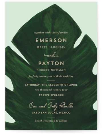 This is a portrait green Wedding Invitations by Kaydi Bishop called Palm with Standard printing on Signature in Petite Flat Card format. A chic hand painted acrylic palm leaf contrasts the invitation wording on this beach or destination style wedding ...