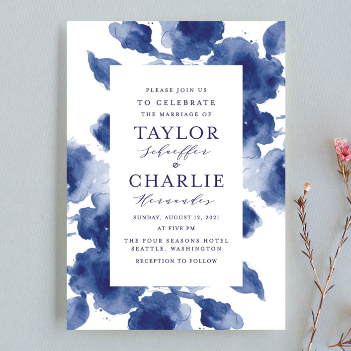 """""""Cornflower Wedding"""" - Wedding Invitation Petite Cards in Periwinkle by Chris Griffith."""